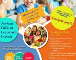Τμήματα Play group – Pre-junior – Junior 2020 – 2021